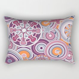 Seventies Bohemian Rock Inspired Geometric Circles and Stars in Purple Rectangular Pillow