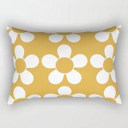Geometric Golden Yellow & White Summer Daisies Rectangular Pillow