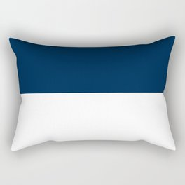 White and Oxford Blue Horizontal Halves Rectangular Pillow