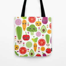 Veggie friends and smiley food Tote Bag