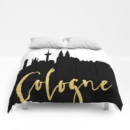 COLOGNE GERMANY DESIGNER SILHOUETTE SKYLINE ART Comforters