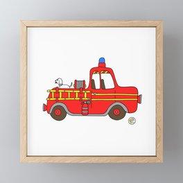 red vintage firetruck Framed Mini Art Print