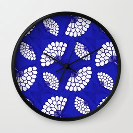 African Floral Motif on Royal Blue Wall Clock