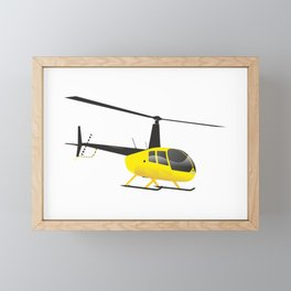 Light Black and Yellow Helicopter Framed Mini Art Print