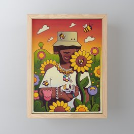 Tyler the Creator in the Garden Cartoonized Framed Mini Art Print