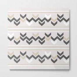 Geometric Arrowhead Charcoal Gold And White Grunge Pattern Metal Print