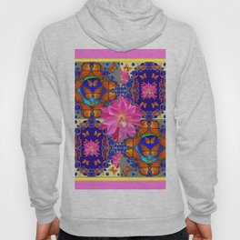 Exotic Fantastic Pink Four Panel Butterflies Tropical Floral Art Hoody