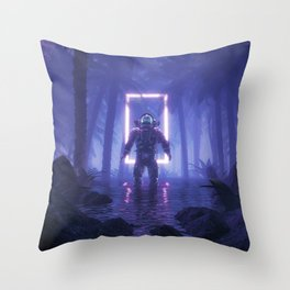 Lost In The Neon Jungle Throw Pillow