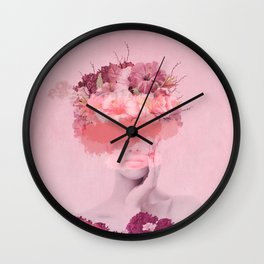 Woman in flowers Wall Clock
