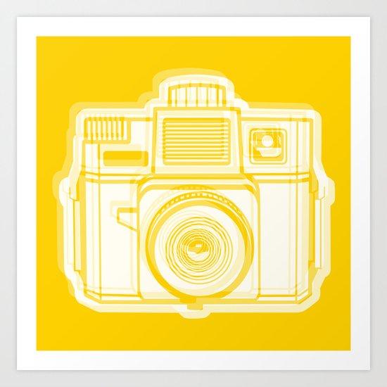 I Still Shoot Film Holga Logo - Reversed Yellow Art Print