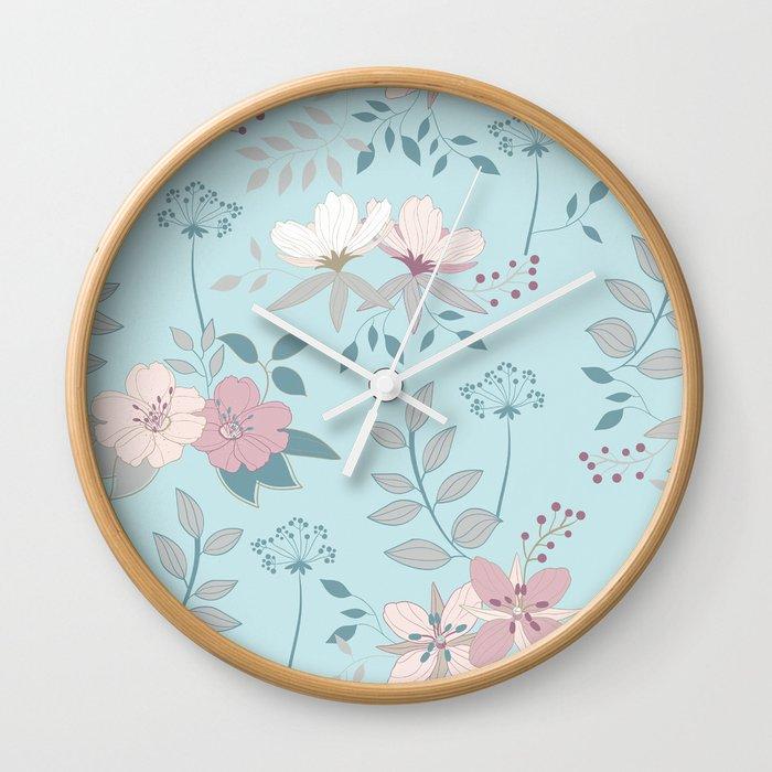 Flower Mix Shabby Chic Wall Clock