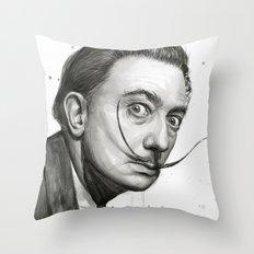 Salvador Dali Watercolor Portrait Throw Pillow