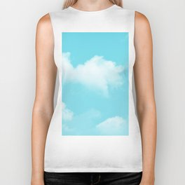 Aqua Blue Clouds Biker Tank