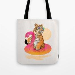 Chillin (Flamingo Tiger) Tote Bag