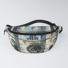 Notre Dame Cathedral, Paris, Watercolor Fanny Pack