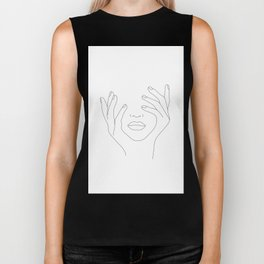 Minimal Line Art Woman with Hands on Face Biker Tank