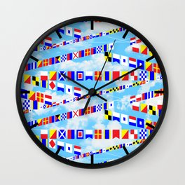 Maritime Signal Flags Pattern with Sailor Sayings Wall Clock