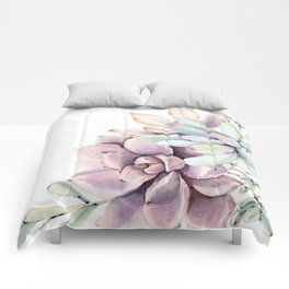 Desert Succulents on White Comforters