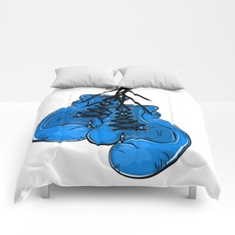 Blue boxing gloves hanging on a nail Comforters