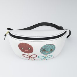 cute funny kawaii chocolate and blue Sweet Cake pops set with bow on white background Fanny Pack