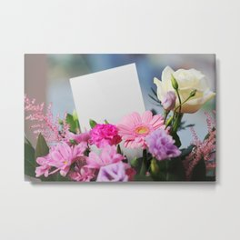 Flowers and a White Sheet of Paper Metal Print