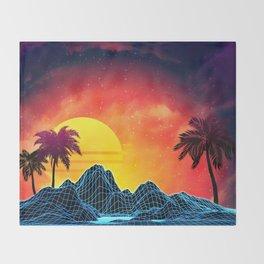 Sunset Vaporwave landscape with rocks and palms Throw Blanket