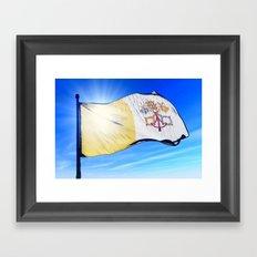 Vatican City flag waving on the wind Framed Art Print