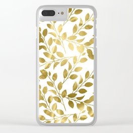 Gold Leaves on White Clear iPhone Case