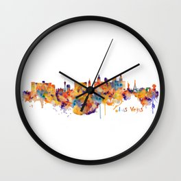 Las Vegas Watercolor Skyline Wall Clock