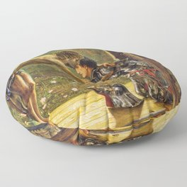Edward Burne-Jones  - The Merciful Knight - Digital Remastered Edition Floor Pillow