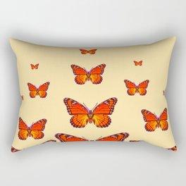 ORANGE MONARCH BUTTERFLIES CREAMY YELLOW Rectangular Pillow