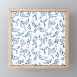Winter Birds and Foliage Pattern (Blue) Framed Mini Art Print