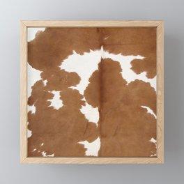 Tan and white cowhide texture Framed Mini Art Print