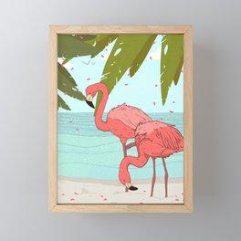 tropical flamingos Framed Mini Art Print