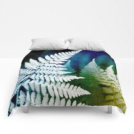 Blue Fern Leaf Art Comforters
