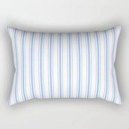 Mattress Ticking Wide Striped Pattern in Pale Blue and White Rectangular Pillow