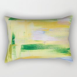 Blooming orchard: minimal, acrylic abstract painting in spring green and yellow / Variation Eight Rectangular Pillow