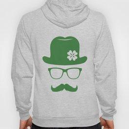 St Patricks Day Green Derby Moustache Hipster Design Hoody