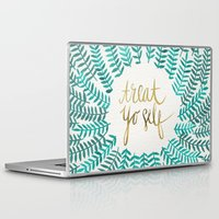 turquoise Laptop & iPad Skins featuring Treat Yo Self – Gold & Turquoise by Cat Coquillette