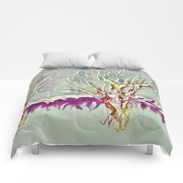 Winter Trees Purple Teal Gold Buffalo by CheyAnne Sexton Comforters