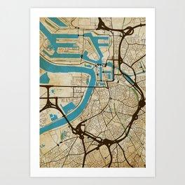 Antwerp (grunge) Art Print