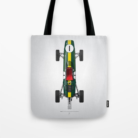Outline Series N.º1, Jim Clark, Lotus 25-Coventry Climax 1962 Tote Bag