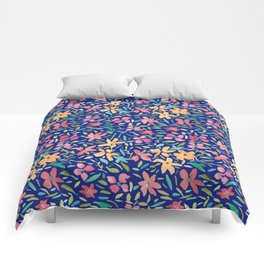 Clementine and Coral Watercolor Floral Dark Comforters