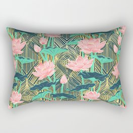 Art Deco Lotus Flowers in Peach & Emerald Rectangular Pillow