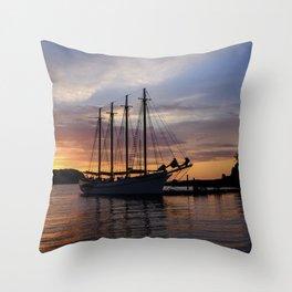 Schooner at sun rise Throw Pillow
