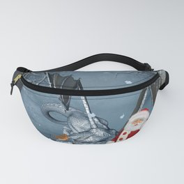 Santa Claus with ice dragon in a winter landscape Fanny Pack