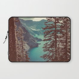 Vintage Blue Crater Lake and Trees - Nature Photography Laptop Sleeve