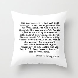 She was beautiful - Fitzgerald quote Throw Pillow