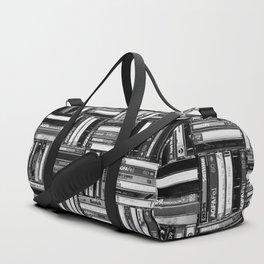 Music Cassette Stacks - Black and White - Something Nostalgic IV #decor #society6 #buyart Duffle Bag