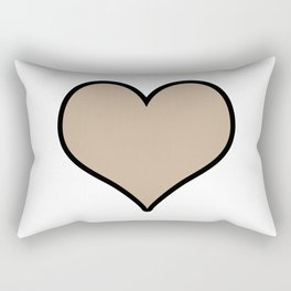 Pantone Hazelnut Heart Shape with Black Border Digital Illustration, Minimal Art Rectangular Pillow